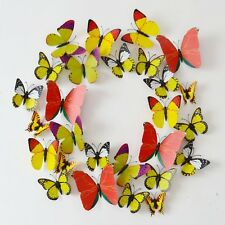 Hot Yellow 12PCS DIY 3D Butterfly Wall Sticker Decal Home Decor Room Decoration
