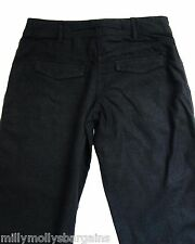 New Womens Black Linen NEXT Trousers Size 8 Regular LABEL FAULT