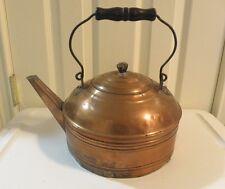 Large Antique Copper Plated  Kettle Tea Pot With Wood Handle Bird Beak Spout