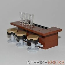 LEGO Furniture: Bar With Stools - Brown Bar w/ 3 Stools & Glasses   [custom set]