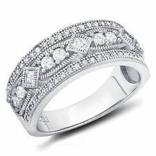 925 Sterling Silver Wedding or Anniversary Band Cubic Zirconia Micro Pave Size 6