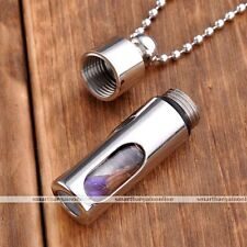 Stainless Steel Acyrlic Open Container Tube Bottle Pendant Chain Necklace Gifts