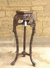 Chinese 19th Century Hardwood Marble Jardiniere Pot Stand 91cm tall 3 Legs