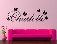 Personalised Butterfly Name Wall Art Quote Sticker Decal Vinyl Custom Childs Bed
