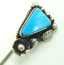 VINTAGE NAVAJO STERLING TURQUOISE STONE STICKPIN SCARF PIN