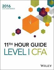 WILEY 11TH HOUR CFA EXAM 2016, LEVEL 1 - NEW PAPERBACK BOOK
