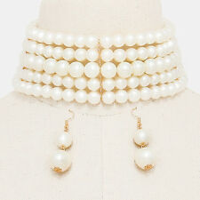 "13.50"" gold cream faux pearl 5 layer choker collar bib necklace 2"" earrings"