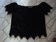 ladies New Look  Cameo Rose fab black lacy goth top size 14 or 12
