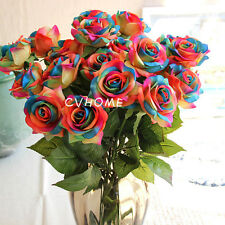 1x Rainbow Single Stem Rose Artificial Flower Wedding Party Bridal Bouquet Decor