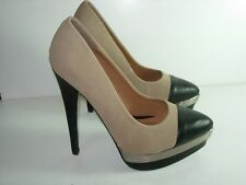 WOMENS TAN BONE BROWN CAMEL PEWTER BLACK PUMPS STILETTO HEELS SHOES SIZE 8.5 M