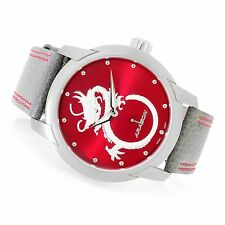 ARAGON Men's 47mm Dragon Quartz Leather Strap Watch with Collector's Case,New