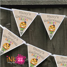 Personalised Halloween Birthday Party Decoration Bunting Banner Sign Boy Girl