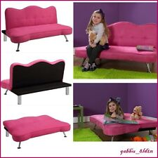Girls Sofa Kids Futon Sleeper Couch Lounge Chair Pink Child Chaise Bed Play Room