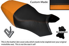 BLACK & ORANGE CUSTOM FITS BUELL ULYSSES XB12X 1200 LEATHER DUAL SEAT COVER