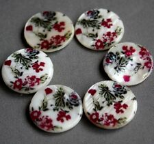 Shell printed round beads 20 x 20mm - pack of 6