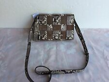 NWT MICHAEL KORS 30T6SVEM2 VIVIAN MD MESSENGER SNAKE EMB LEATHER BAG NAT/DK DUNE
