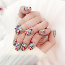 24pcs Fashion Chinoiserie False Nails Flower Pattern Oval Short Acrylic Nail Tip
