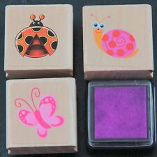 Cute Garden Ladybird Ladybug Snail Butterfly Creatures Rubber Stamp Set with Ink