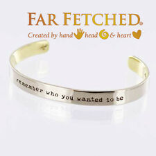 Quote Bracelet REMEMBER WHO YOU WANTED TO BE Silver Cuff Bracelet Bangle NEW