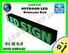 """GREEN - 51""""X6.5"""" LED PROGRAMMABLE SCROLLING SIGN - OUTDOOR (Totally Water Proof)"""