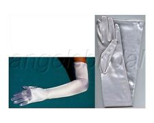 "23"" SILVER STRETCH SATIN BRIDAL WEDDING EVENING GOWN PARTY COSTUME OPERA GLOVES"