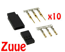 10x JST-SH SERVO PLUG SETS - JR PLUG VERSION - GOLD PLATED CONTACTS 10X M