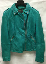 Muubaa Carmona Light Green leather biker rider zip jacket. RRP £375. UK 10 M0423