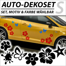 Auto Aufkleber Hibiskus Hawaii Blume Schmetterl​ing Stern Car Tattoo Sticker Set