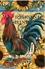 NEW LG EVERGREEN DOUBLE SIDED FLAG COCK A DOODLE DO RISE & SHINE ROOSTER 29 X 43