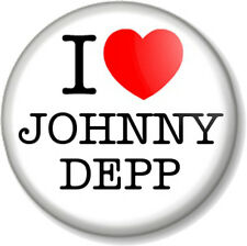 "I Love / Heart JOHNNY DEPP 1"" Pin Button Badge Jack Sparrow Edward Scissorhands"