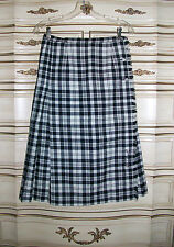 ALJEAN of Canada Black & White Plaid 100% Wool Pleated Kilt Skirt