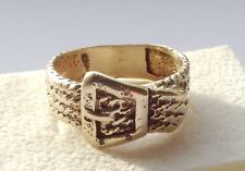 SOLID 9ct.GOLD BUCKLE/GYPSY RING WITH DIAMONDS.SIZE U.K.- P HEAVY 9K.GOLD RING