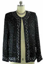 Black Beaded Sequined Formal Evening Top Cardigan JMD New York Silk Sz. M India