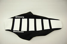 "New White and Black Ribbed ""Kawasaki"" Seat cover KX125 KX250 2002"