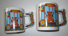 Set of 2 COLLECTABLE Mugs Circus Animals Teddy Bear Clowns Hot Chocolate