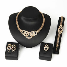 NEW 18K Gold Plated Necklace Earring Bracelet Ring Jewelry Set zircon