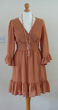 UK12 Boden Caramel Brown Dress 70s Style Parisian Angel Sleeve Boho Vintage
