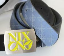 NIXON Mens Denim Blue GENUINE LEATHER Belt Size MEDIUM Icon Steel Buckle exch