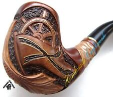 """UNIQUE HAND CARVED Tobacco Smoking Pipe / Pipes """"MARINE"""" for 9mm Filter +GIFT!"""