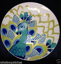 "STEPHANIE RYAN 2014 PAVO PEACOCK SALAD PLATE 8"" FEATHERS BLUE GREEN & GOLD"
