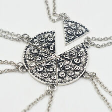 6pc Plata Cadena Collar Colgante de pizza rebanada mejor amigo Bff Amistad Regalo UK