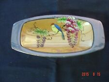 Vintage Hand Painted Lusterware small dish with bird blue/peach Made In Japan