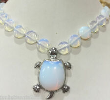 New 14mm coin Sri Lanka Moonstone Gems Tortoise Pendant Necklace 18''