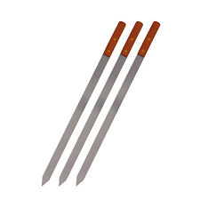 3 Set 23x1 inch Stainless Steel Wood Handle BBQ Skewers for kebob Kebab Grill