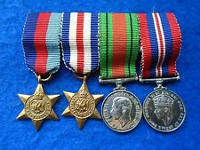 MINIATURE WWII MESS/DINNER DRESS MEDALS WITH RIBBONS