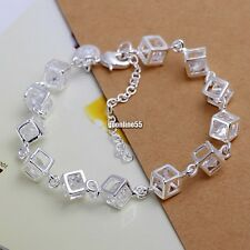 Women Fashion 925 Sterling Silver Plated Charm Box Crystal Chain Bracelet Bangle
