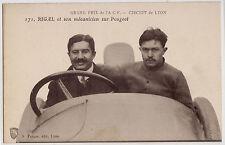 CPA -69-  LYON - G.P. de l' A.C.F.  RIGAL et son mécanicien sur Peugeot.