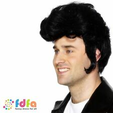 1950s ELVIS ROCK N ROLL KING ROCKSTAR GREASE DANNY BLACK WIG - mens fancy dress