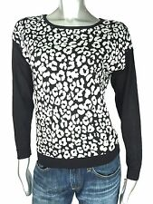 New Inc International Concepts Black & White Leopard Crewneck Sweater XS