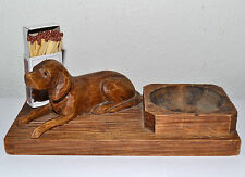 BEAUTIFUL MATCH HOLDER HAND CARVED WOOD HUNTING DOG WITH GLASS EYES AUSTRIA 1920